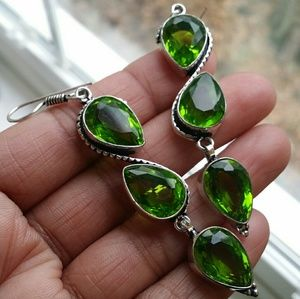 Peridot Earrings Gemstone Sterling new